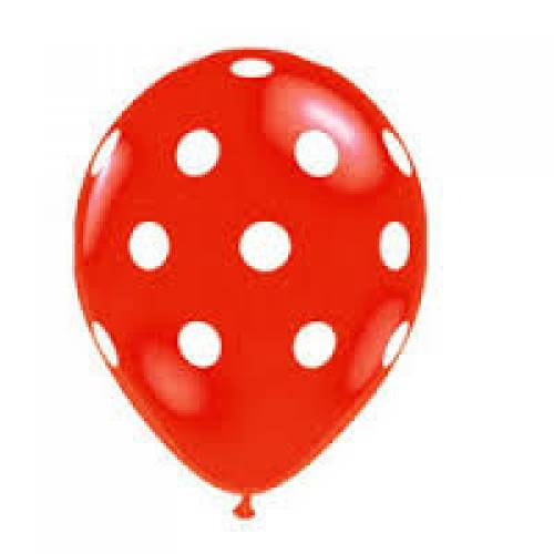 Party Balloons 10pk Red With White Spot