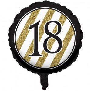 Foil Balloon '18' - Black & Gold