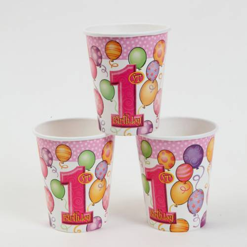 1st Birthday Party Supplies Cups, Pink
