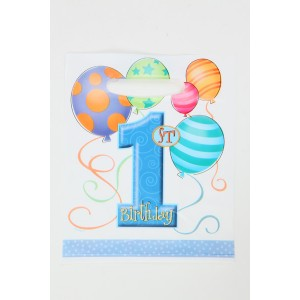 1st Birthday Party Supplies Lootbags, Blue