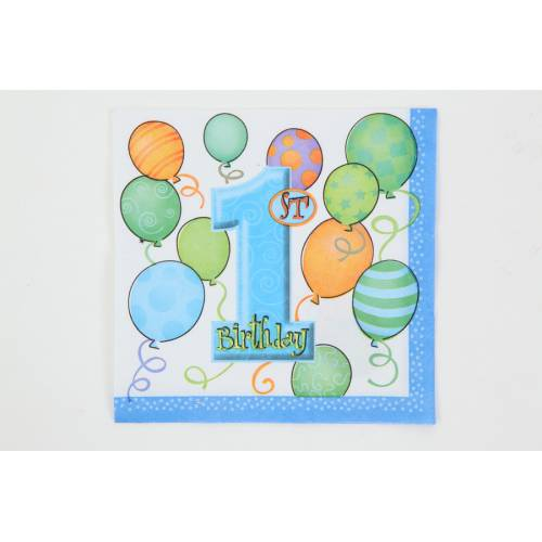 1st Birthday Party Supplies Napkins, Blue