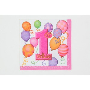 1st Birthday Napkins - Pink
