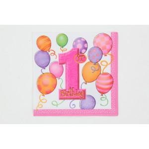1st Birthday Napkins - Pink