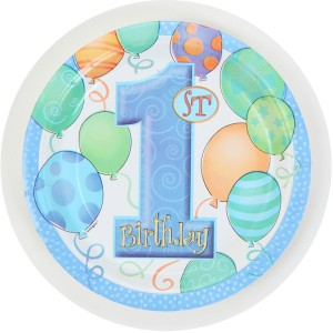 1st Birthday Party Supplies Plates, Blue