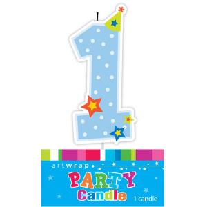 Candle 1st Birthday Blue