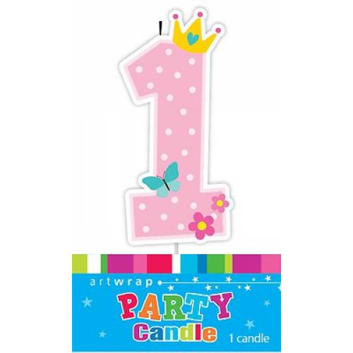 Candle 1st Birthday Pink