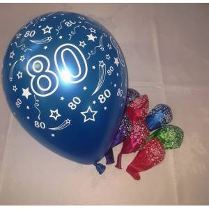 Balloons Printed 80th 8pk - Assorted Metallic