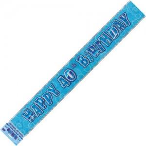 Banner Happy 40th Birthday Blue & Silver