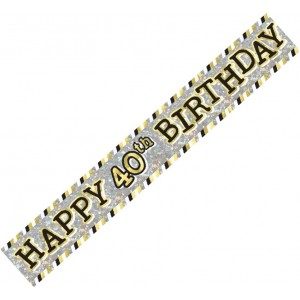 Banner Happy 40th Birthday - Black, Silver & Gold