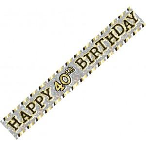 Banner Happy 40th Birthday - Black, Silver & Gold