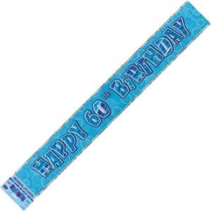 Banner Happy 40th Birthday - Blue & Silver