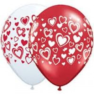 Balloon Single Hearts Double Assorted
