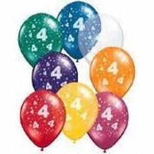 Balloon Single 4th Birthday Assorted