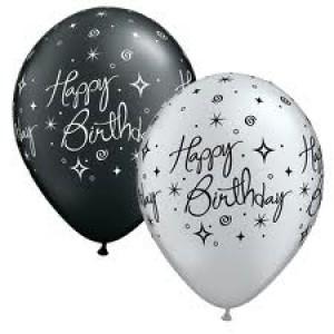 Balloon Single Happy Birthday Black