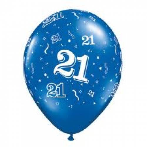 Balloons Blue 21st Birthday Balloon