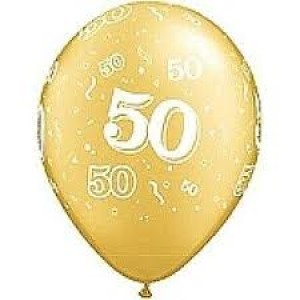Balloons Gold 50 Balloon. Birthday & Anniversary