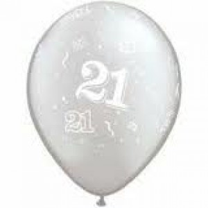 Balloons Silver 21st Birthday Balloon