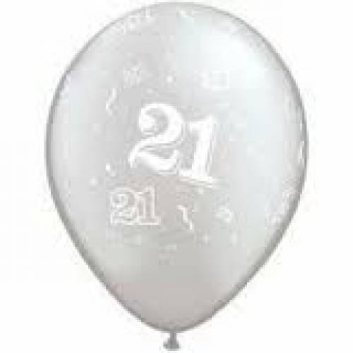 Balloons Silver 21st Birthday Balloon
