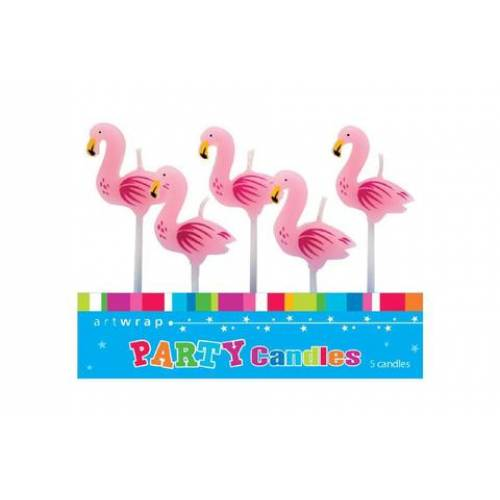 Candles Flamingo 5pk