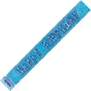 Banner Happy Birthday - Blue& Silver