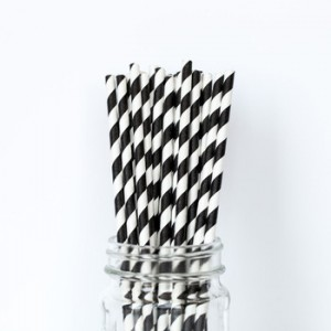 Paper Straws Black and White Twist