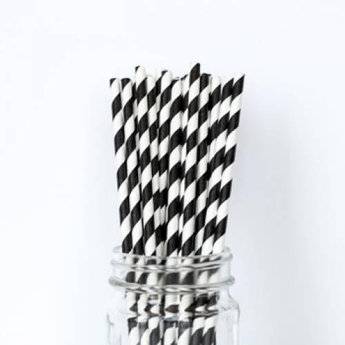 Paper Straws Black and White Twist