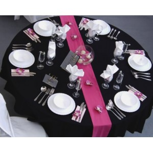 Pink Table Runner on Black Linen
