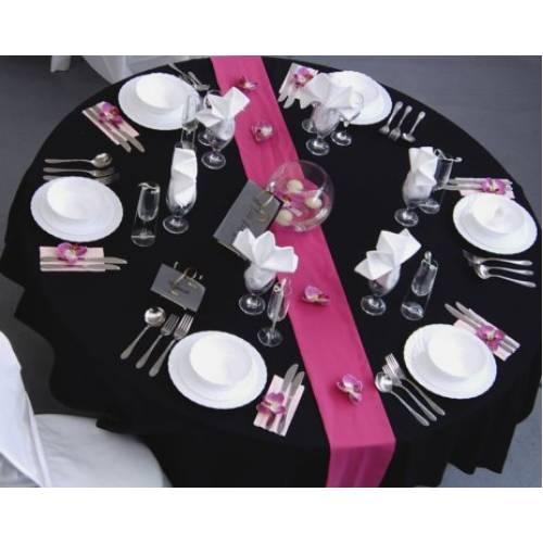 Pink Table Runner on Black Linen