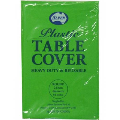 Plastic Table Cover Round Lime Green