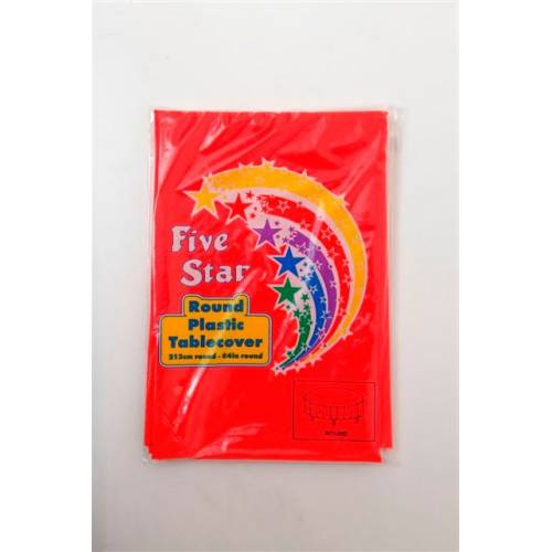 Plastic Table Cover Round Red