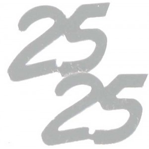 Scatter Confetti 25 Silver Numbers