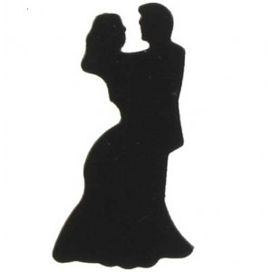 Scatter Confetti Bride and Groom Black