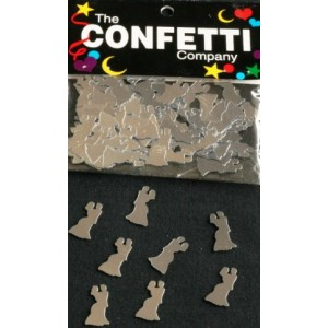 Scatter Confetti Bride and Groom Silver