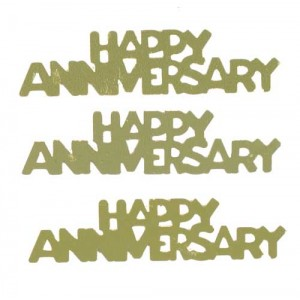Scatter Confetti Happy Anniversary Gold