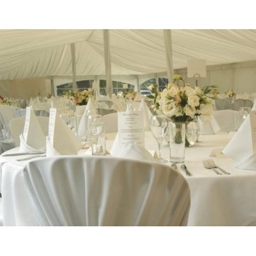 Silk Lined Marquee with White Linen and Covers
