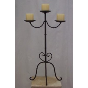 Candelabra 70cm, 3 Candle, Rustic