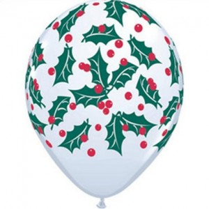 Christmas Balloon White Holly
