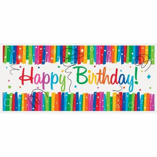 Banner Birthday Rainbow Ribbons