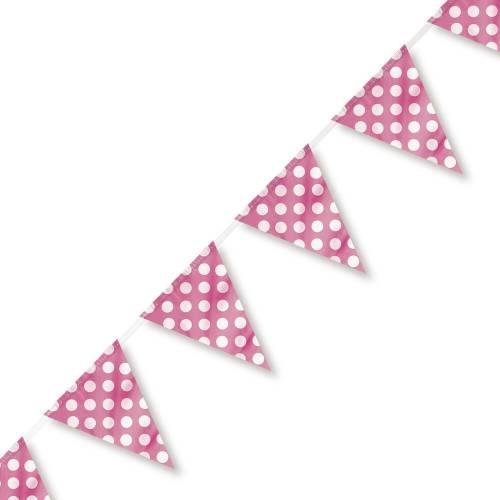 Bunting Flag Banner (Large) Polka Dot Pink