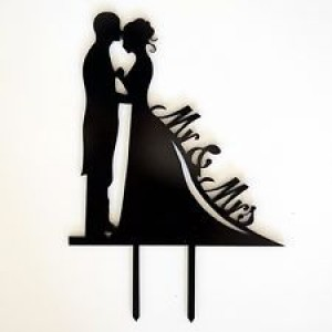 Wedding Cake Top - Bride & Groom - Black