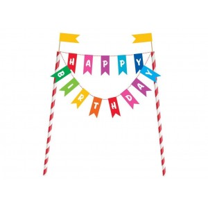 Cake Topper Happy Birthday Bunting