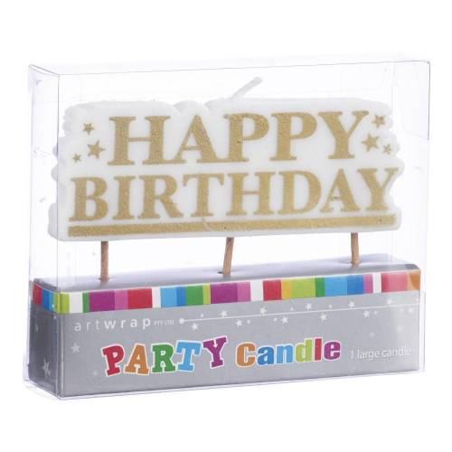 Happy Birthday Candle Gold