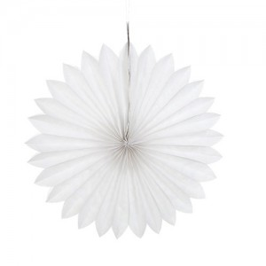 Tissue Paper Fan White - 25cm