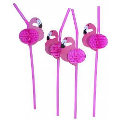 Hawaiian Luau Flamingo Straws 12pk