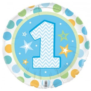 Foil Balloon '1' - 1st Birthday Boy