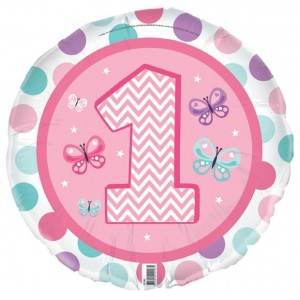 Foil Balloon '1' - 1st Birthday Girl
