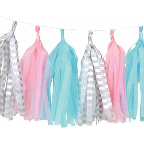 Tassel Garland Large - Pink, Blue and Silver