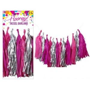 Tassel Garland - Pink & Silver