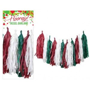 Tassel Garland - Red, Green & White