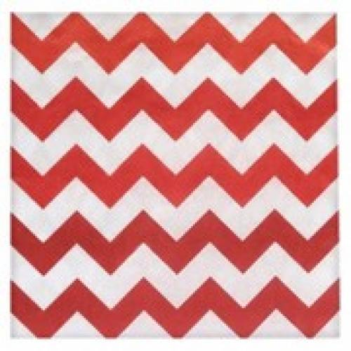 Lunch Napkins 15pk - Chevron Red